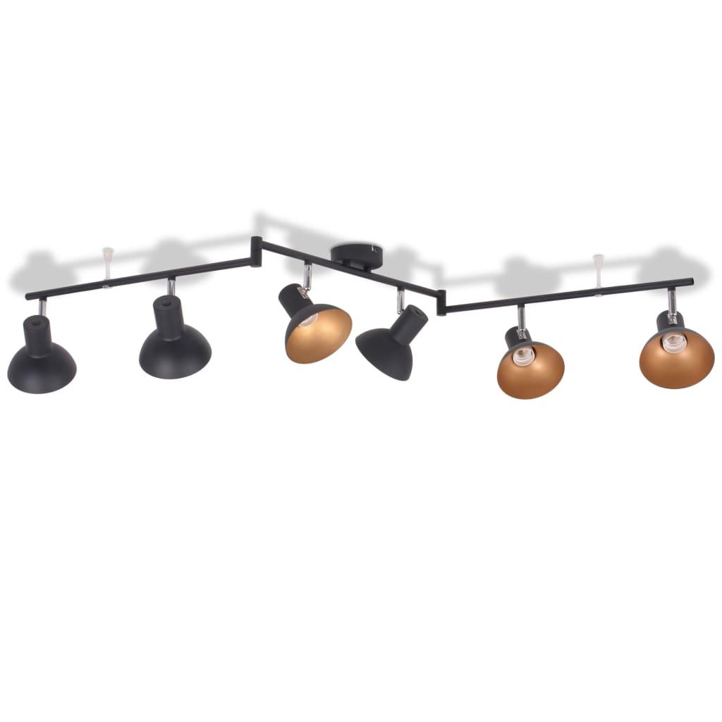 vidaXL Φωτιστικό Οροφής Ράγα για 6 Λαμπτήρες E27 Μαύρο / Χρυσαφί
