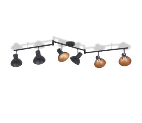 vidaXL Taklampe for 6 pærer E27 svart and gull