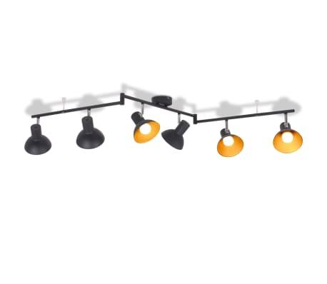 vidaxl deckenlampe f r 6 gl hbirnen e27 schwarz und gold g nstig kaufen. Black Bedroom Furniture Sets. Home Design Ideas