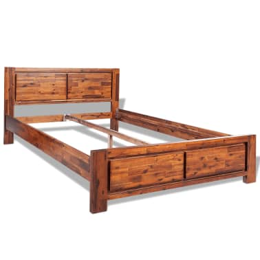 vidaXL Bed Frame Brown Solid Acacia Wood Queen Size[2/8]