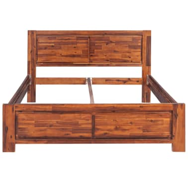 vidaXL Bed Frame Brown Solid Acacia Wood Queen Size[3/8]