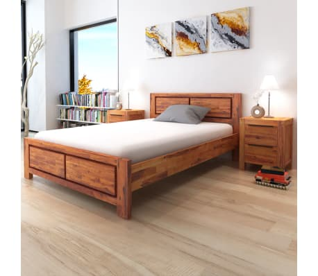 vidaXL Bed Frame Brown Solid Acacia Wood Queen Size[1/8]