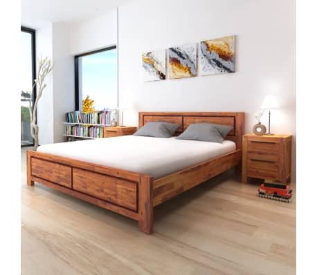 Vidaxl Bed Frame Solid Acacia Wood Brown King Size