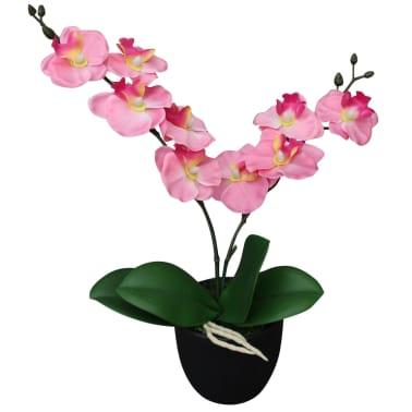 vidaXL kunstig orkidéplante med urtepotte 30 cm pink[1/2]