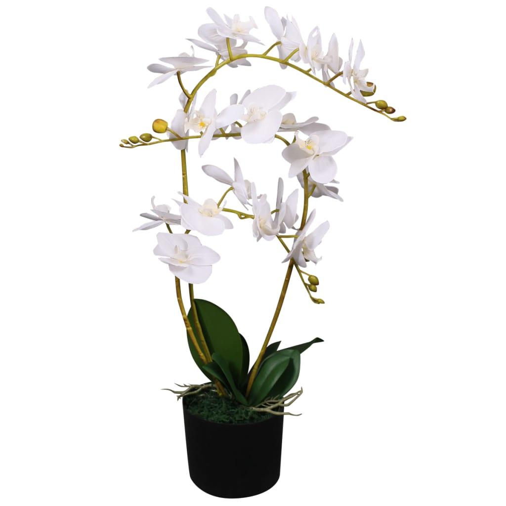 Umělá rostlina orchidej s květináčem 65 cm bílá