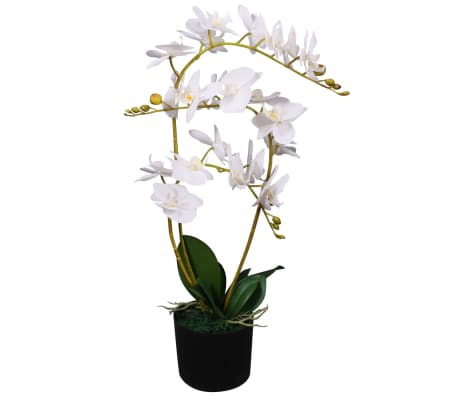 "vidaXL Artificial Orchid Plant with Pot 25.6"" White"