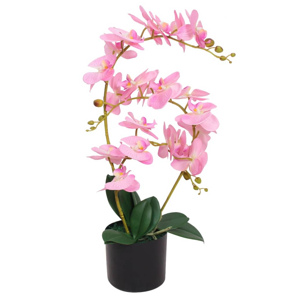 Umělá rostlina orchidej s květináčem 65 cm růžová