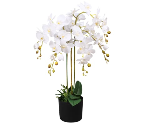 "vidaXL Artificial Orchid Plant with Pot 29.5"" White[1/2]"