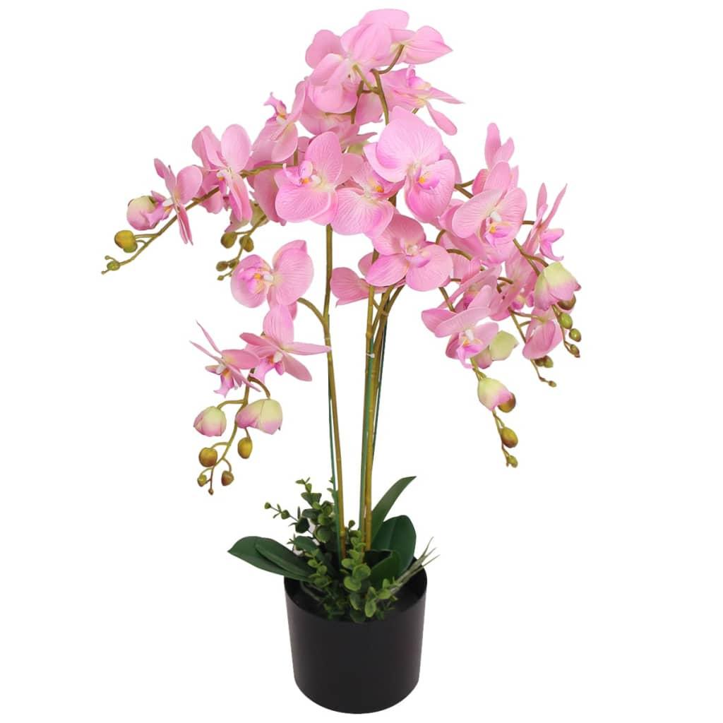 vidaXL Kunst orchidee plant met pot 75 cm roze