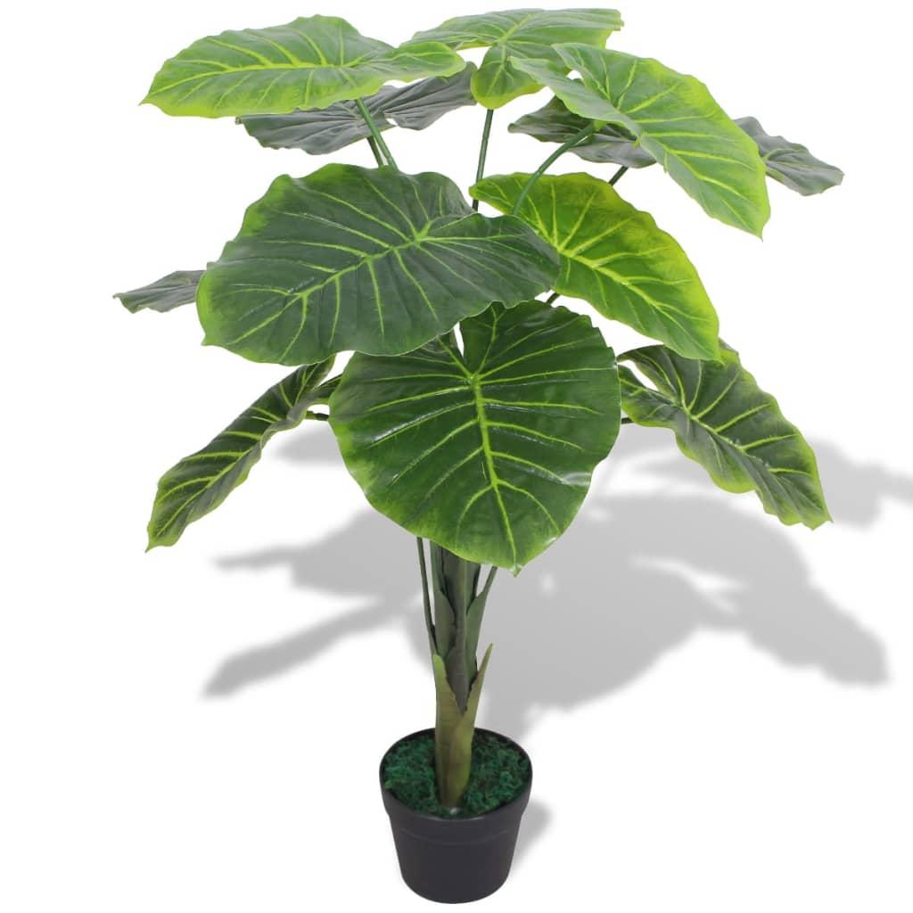 Umělá rostlina kolokázie s květináčem 70 cm zelená