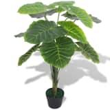 vidaXL Umelá rastlina taro s kvetináčom, 70 cm, zelená