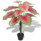 vidaXL Artificial Caladium Plant with Pot 70 cm Green and Red