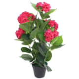 vidaXL Artificial Hydrangea Plant with Pot 60 cm Red