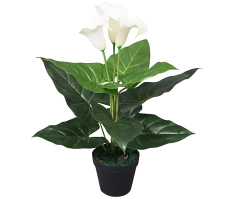 vidaXL Artificial Calla Lily Plant with Pot 45 cm White