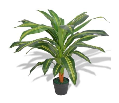 "vidaXL Artificial Dracaena Plant with Pot 35.4"" Green[1/2]"