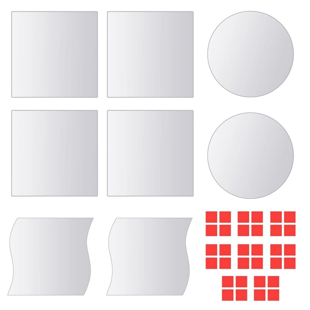 Zrcadlové dlaždice, 8 ks, různé tvary, sklo