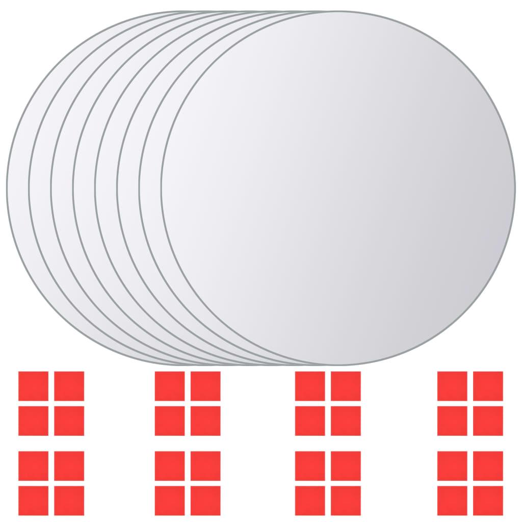 Zrcadlové dlaždice, 8 ks, kulaté, sklo