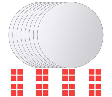vidaXL Plăci de oglindă rotunde, sticlă, 8 buc