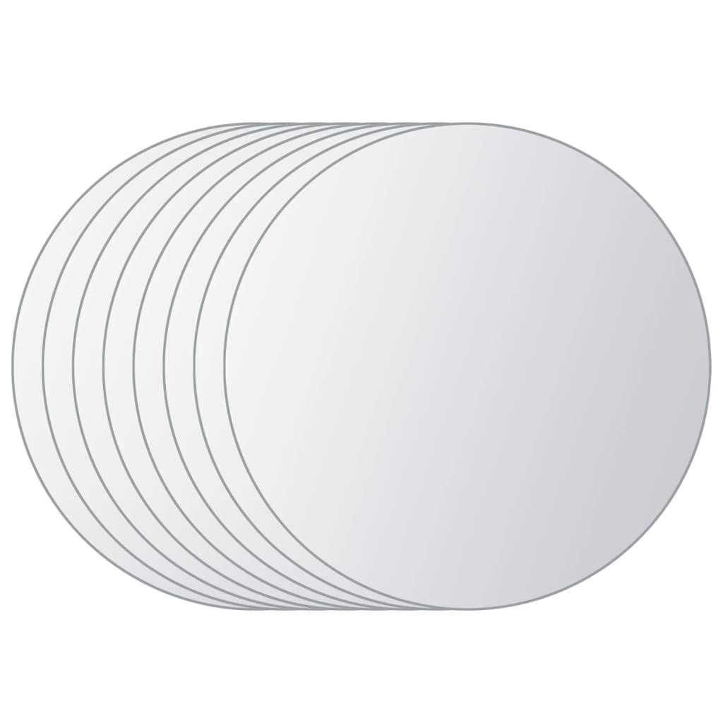 vidaXL Spiegeltegels rond glas 8 st