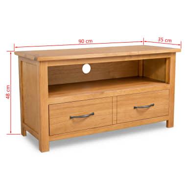 vidaXL TV spintelė, 90x35x48cm, ąžuolo medienos masyvas[7/7]