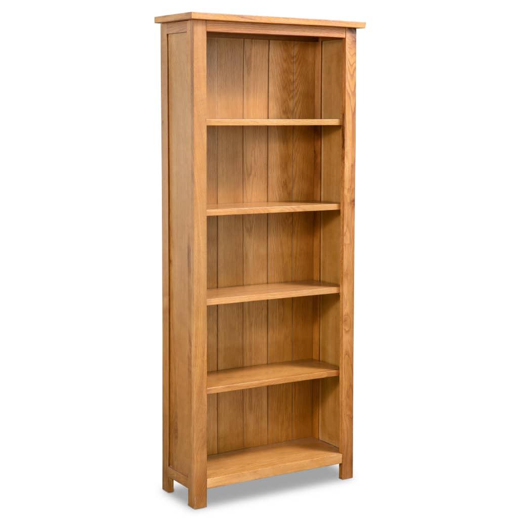 vidaXL Knihovna s 5 policemi 60 x 22,5 x 140 cm masivní dubové dřevo