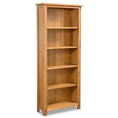 vidaXL Biblioteka od masivne hrastovine s 5 polica 60 x 22,5 x 140 cm[1/5]