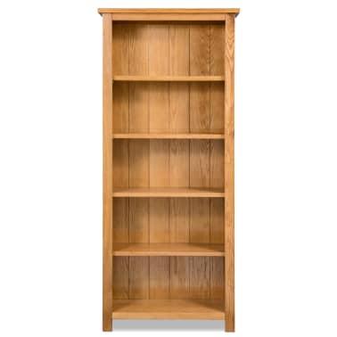 vidaXL Biblioteka od masivne hrastovine s 5 polica 60 x 22,5 x 140 cm[2/5]