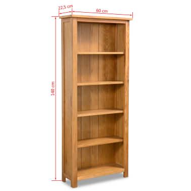 vidaXL Biblioteka od masivne hrastovine s 5 polica 60 x 22,5 x 140 cm[5/5]