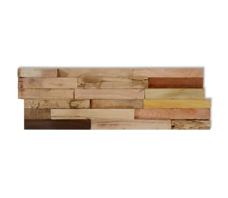 vidaXL 10 pcs Wall Cladding Panels 1 m² Recycled Teak[5/9]