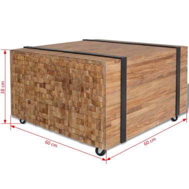 vidaXL Šoninis staliukas, tikmedis, 60x60x38cm[6/6]