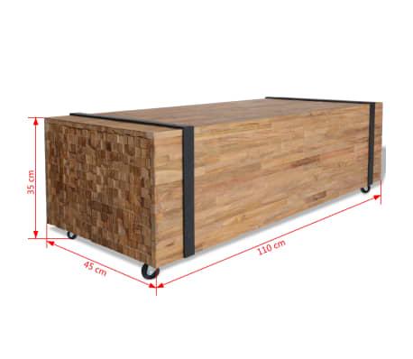 vidaXL Kavos staliukas, tikmedis, 110x45x35cm[6/6]