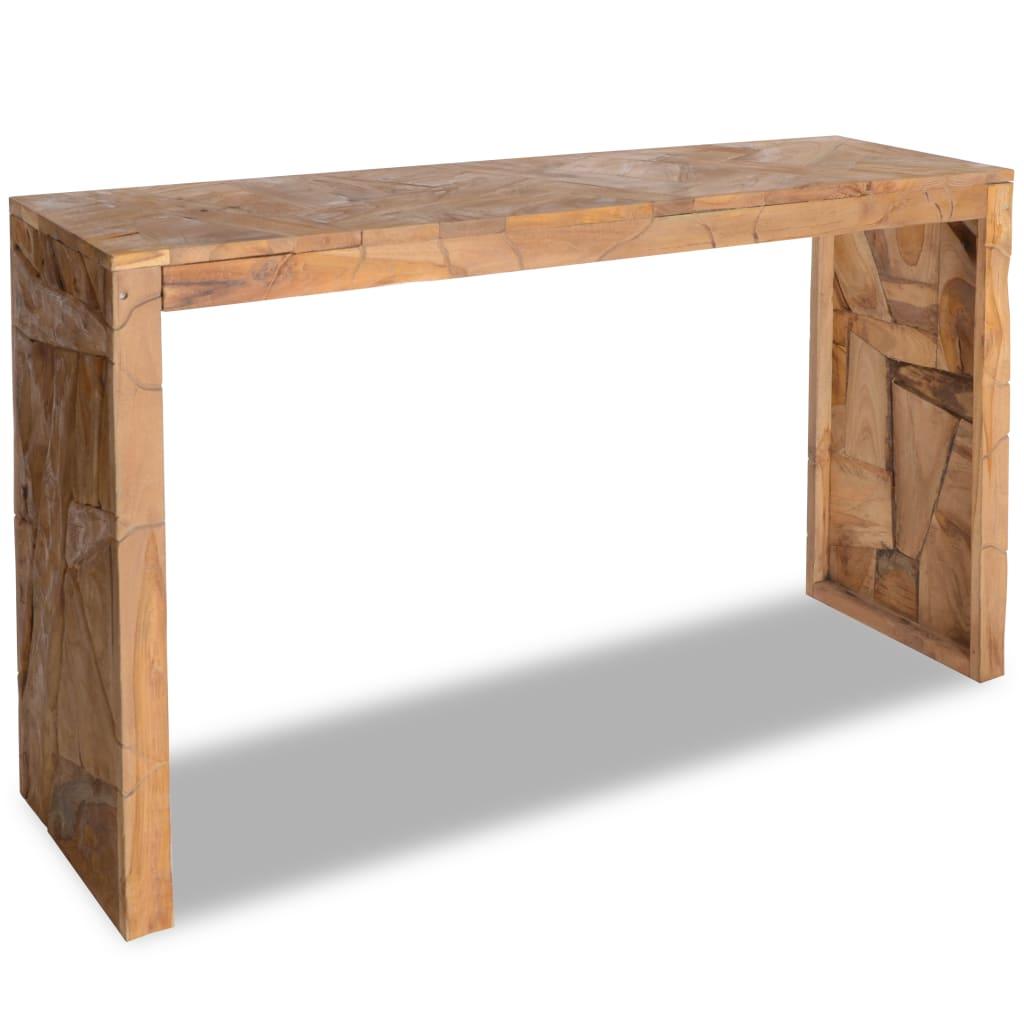 vidaXL Masă consolă, 120x35x76 cm, lemn de tec, model eroziune imagine vidaxl.ro