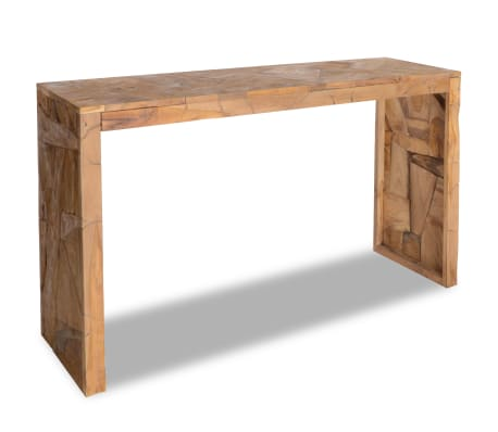 vidaXL Konsolinis staliukas, erozijos efektas, tikmedis, 120x35x76cm
