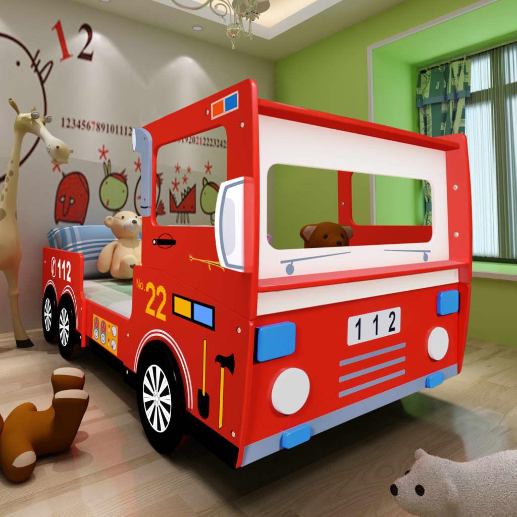 vidaXL Pat pentru copii mașină de pompieri 200 x 90 cm, roșu imagine vidaxl.ro