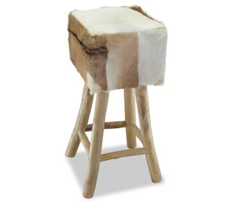 vidaXL Bar Stool Real Leather and Solid Teak Wood[1/8]