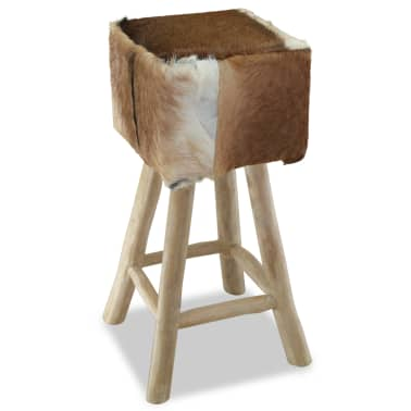 vidaXL Bar Stool Real Leather and Solid Teak Wood[3/8]