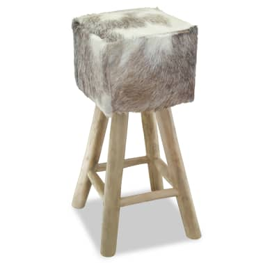 vidaXL Bar Stool Real Leather and Solid Teak Wood[4/8]