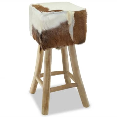 vidaXL Bar Stool Real Leather and Solid Teak Wood[5/8]
