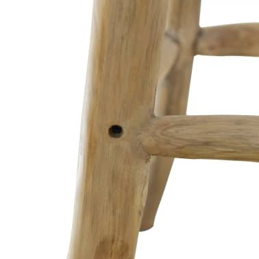 vidaXL Bar Stool Real Leather and Solid Teak Wood[7/8]