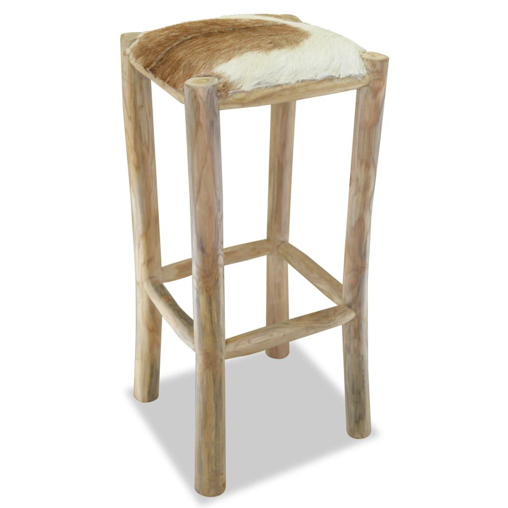 vidaXL Barska stolica od prave kože i masivne tikovine