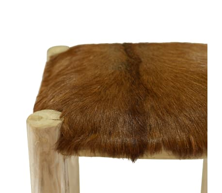 vidaXL Bar Stool Real Leather and Solid Teak Wood[6/8]