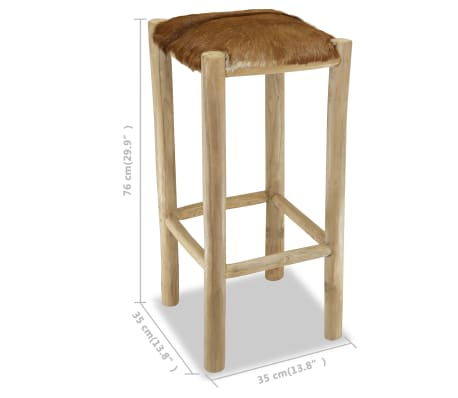 vidaXL Bar Stool Real Leather and Solid Teak Wood[8/8]