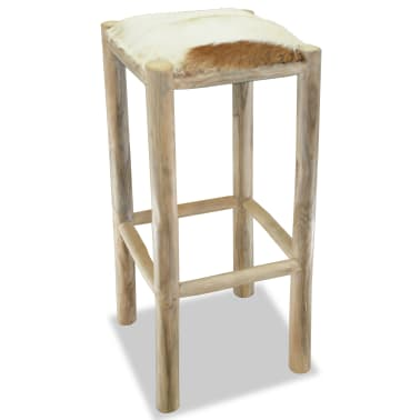 vidaXL Bar Stool Real Leather and Solid Teak Wood[2/8]