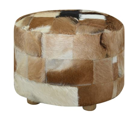 vidaXL Pouffe Genuine Leather Round 50x50x45 cm