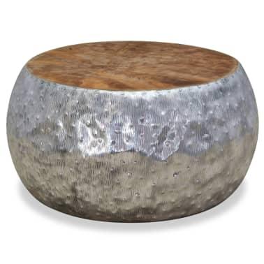 vidaXL Kavos staliukas, aliuminis, tikmedis, 60x60x30cm[1/7]