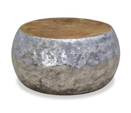 vidaXL Kavos staliukas, aliuminis, tikmedis, 60x60x30cm[4/7]