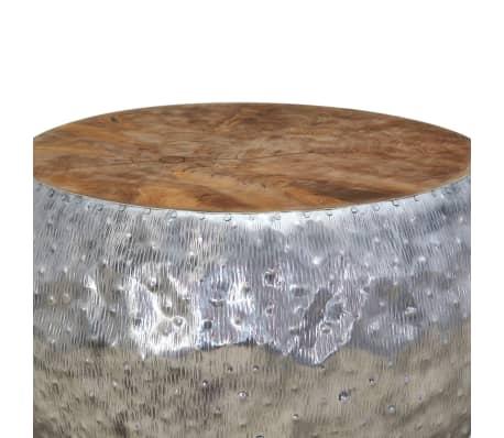 vidaXL Kavos staliukas, aliuminis, tikmedis, 60x60x30cm[6/7]