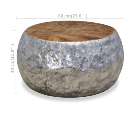 vidaXL Kavos staliukas, aliuminis, tikmedis, 60x60x30cm[7/7]