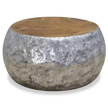 vidaXL Kavos staliukas, aliuminis, tikmedis, 60x60x30cm[2/7]