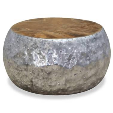 vidaXL Kavos staliukas, aliuminis, tikmedis, 60x60x30cm[3/7]